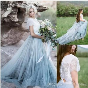 White and blue Wedding Dresses country western 2 pieces bridal gown summer beautiful short sleeve wedding dress