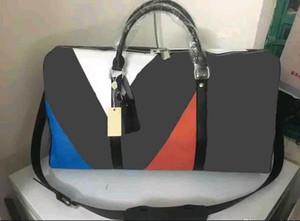 Marrón negro nueva moda hombres mujeres bolsa de viaje bolsa de lona, marca diseñador bolsos de equipaje de gran capacidad bolsa de deporte 60 CM