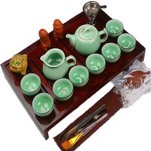 Kung Fu chino juego de té de cerámica de arcilla púrpura Recipientes Incluir bandeja de té Tetera Copa sopera infusor de madera natural de Preferencia
