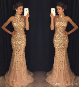 Luxurious Mermaid 2019 Arabic Evening Dresses High Neck Beaded Crystals Tulle Prom Dresses Sparkly Sexy Formal Party Gowns