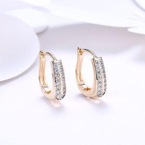 2018 Fashion 18K Gold Zircon Pendientes Double Row Diamond Romantic Champagne Gold earrips Ear Clips Joyería de compromiso de las mujeres