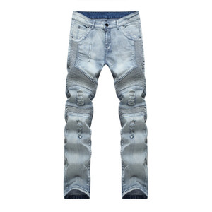 Men's Slim Fit Distressed Denim Biker Jeans new high quality men's blue black ripped jeans Luxury fashion Distressed Men pants