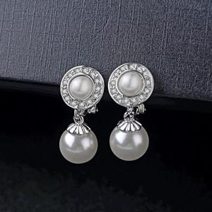 boucles d'oreilles perle avec des clips pas de bijoux percés pour les femmes nouvelle mode style coréen autriche cristal meilleur cadeau fête des mères