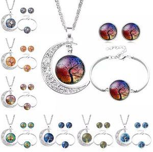Árbol de la vida Collar de cabujón de cristal Pulsera Pendientes Juegos de joyas Tiempo de luna de plata Cadena de piedras preciosas Joyería para mujeres Niño 12 Estilos