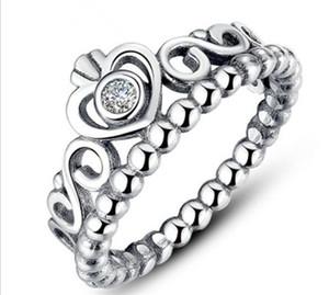 925 Silber Krone Hochzeit Ringe für Frauen Pandora Stil Prinzessin Ringe Tiara Krone Hochzeit Verlobungsring R217