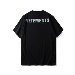 Mejor versión 2018 Vetements Personal hombres de las mujeres de las camisetas del camisetas Hiphop 3M Reflexión hombres Coon camisetas Verano de la CAMISETA