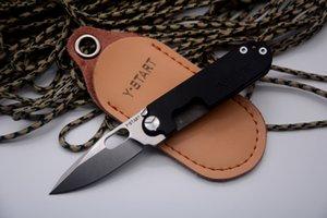 Couteau à haricots Y-START Mini couteau pliant Flipper 440C Rondelle à billes à lame lavée G10 + TC4 poignée couteau de poche Outils EDC pour porte-clés