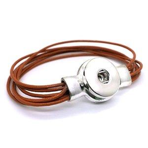 Chaud Aimant Interchangeable 244 18mm Bouton pression Réel Véritable En Cuir Bracelet Bijoux Pour Femmes Hommes Adolescents Cadeau Longueur 19 cm