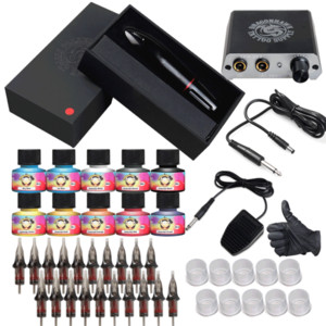 Beginner Complete Tattoo Kit Motor Pen Machine Gun Color Ink Power Supply Needles D3015