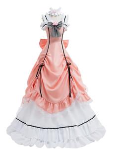 أسود بتلر المرأة تأثيري حلي الوردي فستان طويل حزب اللباس البدلة الزي