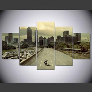 Offre spéciale Top Mode 5 Panneau Moderne Atlanta Street Hd Art Toile Mur Peintures Sans Cadre Pour Le Salon Photo