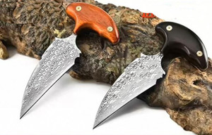 wholesaler Push knife (VG10) steel hardness: 59-60HRC Damascus BLADE Camping hunting knives Christmas Halloween Holiday gifts Free shipping