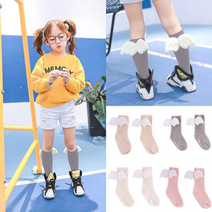 Toddler Socks Baby Cartoon Knee High Socks With Wing Children Pink White Colours Sock Baby Girl Leg Warmers Kids Cotton Socks For Girl