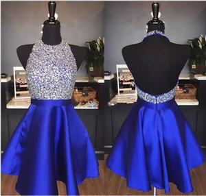 2018 Royal Blue Sparkly HomeComing платья на линию ненавистки Backblub Beashering Короткие платья для выпускного вечеринка для выпускного вечера Abiti Da Ballo Custom Real
