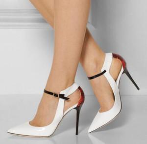 2018 여름 앵클 버클 스트랩 여성 펌프 스틸레토 힐 여성용 웨딩 파티 신발 섹시한 지적 발가락 하이힐 신발