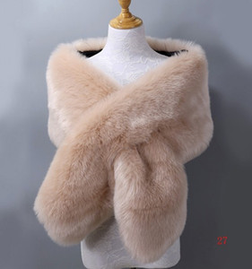 Kış Faux Kürk Düğün Gelin Sarar Sıcak şallar Kabanlar Kadın Ceketler Balo Akşam Parti Için 20 Renkler Ücretsiz Boyutu 65 '' * 13 '' Temiz Stok
