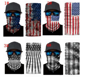 новое прибытие 3D магия оголовье американский флаг оголовье мульти головной платок шарф Шарф маска для лица шарф банданы магия оголовье Мужчины Женщины KKA4071