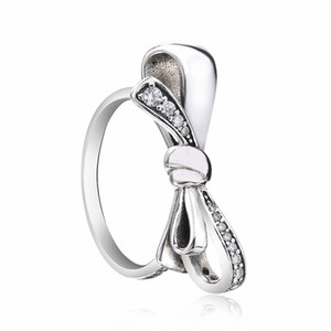 Muttertag Original 100% 925 Sterling Silber Brilliant Bow Ring, Klarer Kristall Ringe für Frauen Mode Ringe DIY Schmuck