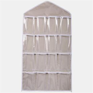 Venta al por mayor-16Pockets Clear Hanging Bag Socks Bra Underwear Rack Hanger Organizador de almacenamiento Jun27 Profesional Precio de fábrica Envío de la gota