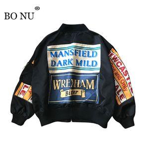 BONU женщины колледж Harajuku бомбардировщик куртка плюс размер ослабить печати сращивание Feminino куртка женщин негабаритных основное пальто куртка S18101102
