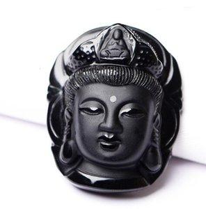 2017 특별 제공 새로운 솔리테어 트렌디 페어리 콜라이 (Buddha) Guanyin 헤드 흑요석 펜던트 부적 목걸이 (Bead Chain)