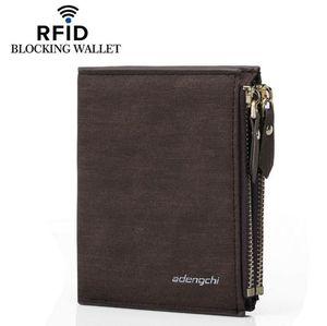 Blocking Men Wallets Double Zipper Coin Bag Famous Brand PU Leather Wallet Money Purses Luxury Big Capacity Wallet Carteira