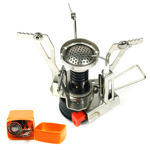 Wholesale-Portable Outdoor Picnic Gas Burner Foldable Camping Mini Steel Stove Case
