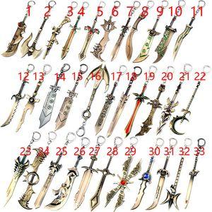 Liga von LOL Keychain, 12cm Metallschlüsselringe für Geschenk, Autoschlüsselhalter, Exile Riven, Diana, Garen Schwert Keychain Legende