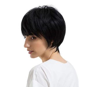 Parrucche brasiliane anteriori del merletto dei capelli umani Nuovo arrivo Cheap Pixie Cut parrucca senza glueless con scoppi per Africano Migliori parrucche diritte dei capelli umani