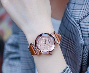Relógio de pulso Caixa De Presente Com 100% Hot GUOU Marca Quartz Lady Assista Rhinestone Waterproof Personalidade Mulheres Espelho 3D Dial Upscale Leather Luxury
