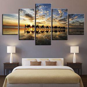 HD Prints Poster quadro quadri su tela Living Room Decor 5 Pezzi Beach Dipinti Tramonto Mare Cammelli team Wall Art