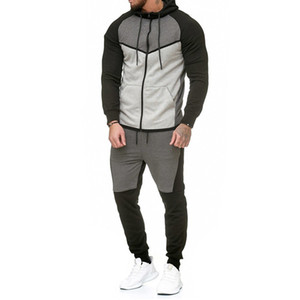 Automne Fitness sport Hommes Set Mode Survêtements Homme culturisme Sweats à capuche Sets Pantalon Casual Costumes Outwear Dropshipping