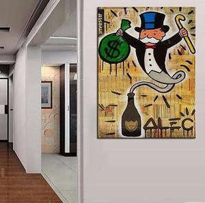 Alec Monopoly Bansky Graffiti art Génie de l'argent, Portrait MODERN ABSTRACT GRAND ART PEINTURE À L'HUILE MUR DÉCOR