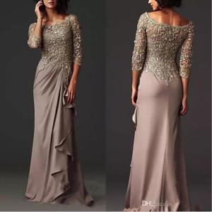 2020 скромные вечерние платья элегантный прозрачный кружевной матерью невесты платье формальные арабские длинные рукава длина пола свадьба гостевая платье