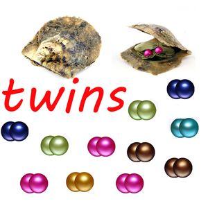 Yuvarlak 6-7mm ikizler inci 27 renk karıştırma Akoya tuzlu su deniz suyu istiridye çiftlik kaynağı midye kabuk DIY hediye lüks takı için canlı şov