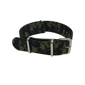 Camuflaje de calidad fina correa de reloj de nylon Nato correa con anillo de acero 20 mm 22 mm 5 colores selecciones envío gratis 5pcs / lot