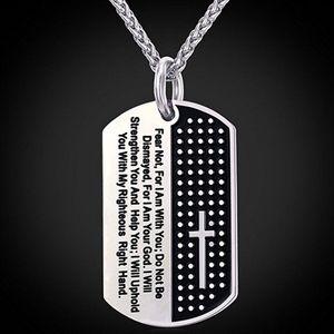 Collares İncil Çapraz Erkekler Kolye Askeri Köpek Etiketi 316L Paslanmaz Çelik Kolye Erkekler Takı Dini İncil Ayet Kolye