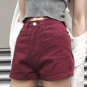 New Arrival Summer Women Shorts Denim Casual Vintage Zipper Fly Mini Jeans Shorts Femme Mid-Waisted Pocket Button Short Feminino