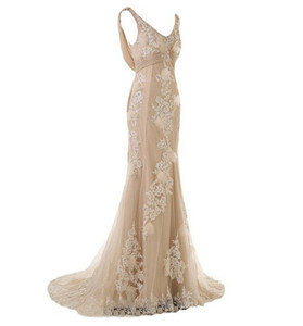 2019 Cheap Custom Made Gorgeous Champagne Mermaid Wedding Dresses for Bride Lace and Chiffon Mother of the Bride Dresses
