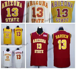애리조나 주 Sun Devils James Harden College 농구 유니폼 Cheap Vintage James Harden # 13 빨간색 노란색 스티치 농구 셔츠