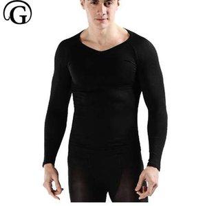 PRAYGER Warm Langarm Männer Körper Shapers Gynäkomastie Brüste Stärke Tops Taille Kontrolle zurück Unterstützung Unterhemden