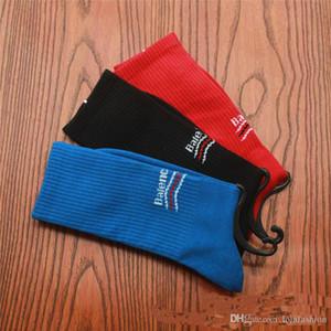 Lettera brandnew all'ingrosso di sport pattino calze per gli uomini di stampa di modo del calzino Atleti calzini neri Hip-Hop Calze formato 39-44