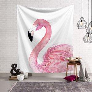 Flamenco rosado tapiz selvático hojas tropicales colgando en la pared paño decoración 150 x 200 cm dormitorio tenture mural mostrar pieza alfombra