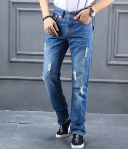 Moda Marca Jeans Mens VERDADEIRO rasgado Linha Vermelha projeto Jeans slim Man Motociclista afligido longo Calças Lápis Hommes Blue Jeans