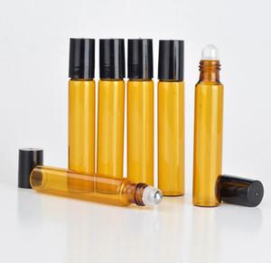 HOt 판매 1200pcs / lot 10 ml 앰버 유리 롤 스테인레스 스틸 롤러 볼 병 에센셜 오일 갈색 향수 병 SN259