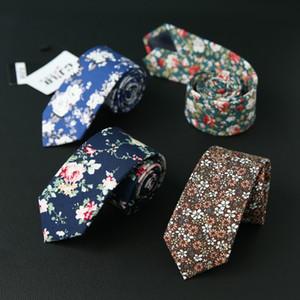 Algodão Fino Laços Nova Moda Estampa Floral Gravata Para Os Homens Skinny Laços Festa de Casamento Flor Gravata Casual Narrow Cotton Gravata