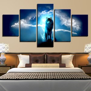 Modern Canvas HD Prints Posters Living Room Wall Art Pictures 5 Pieces Abstract Animal Night Wolf Paintings Home Decor Framework
