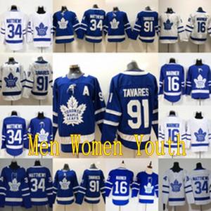 91 John Tavares Assistant Un patch Toronto Maple Leafs Mitch 16 Marner 34 Auston Matthews Hockey Jersey Hommes Femmes Jeunes enfants Double Couts