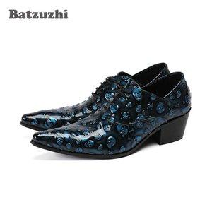 Scarpe da uomo stile italiano scarpe di lusso fatte a mano in pelle da uomo punta a punta lace-up blu teschi in pelle zapatos partito vestito scarpe 6.5 cm tacco