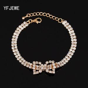 Mode Bogen Kettenarmband Armbänder Kristall Weihnachtsgeschenk Frauen Mode Charme Bijoux Schmuck kostenloser versand # B092